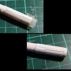 In der ersten Variante hatte er das Problem dass die Struktur zu früh und zu fest um das Rohr geklebt wurde, wodurch sich das Beuteil bis zur Unbrauchbarkeit verformt hat.